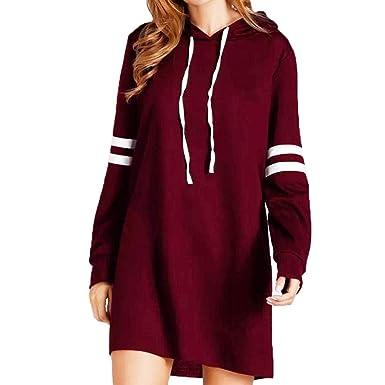 66b2aad00ca POachers Robe Pull Sweats à Capuche Femmes Tunique Manche Longue Robe Sweat  Long