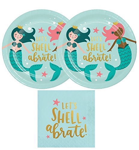 Mermaid Party Supply Pack For 20 Guests - Mermaid Party Plates, Mermaid Luncheon Napkins
