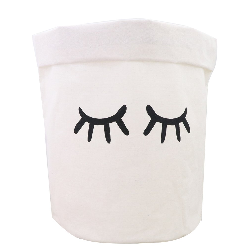 Inwagui White Cotton Laundry Basket Nursery Laundry Hamper Collapsible Storage Basket For Bedroom Bathroom Letter O