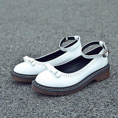 Cómodo y elegante soporte de zapatos de las mujeres pisos caída Casual de piel sintética comodidad plana talón hebilla de con lazo y/negro/amarillo/blanco Walking blanco