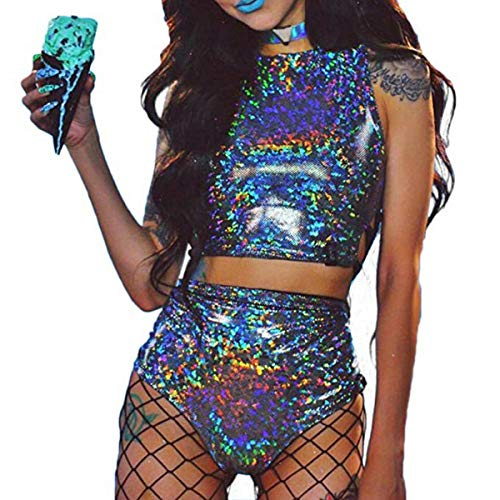 Ortoluckland Women Metallic Rave Crop Top & Booty Shorts Bottoms Set Hologram Silver Swimsuit Outfit(XL)