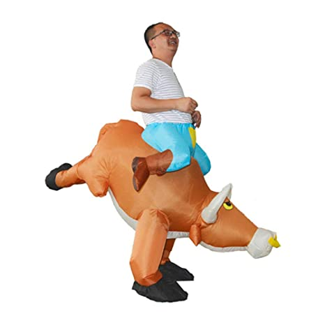 LLVV Disfraz de Vaca Inflable de Halloween Ride on Bull ...