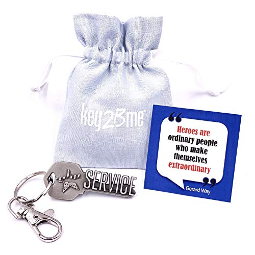 key2Bme Service Key - Keychain & Inspirational Quote - Small Gift idea Military Army Navy air Force Marines Peace Corp National Guard First Responder Police Volunteer Firefighter EMT Thank ()