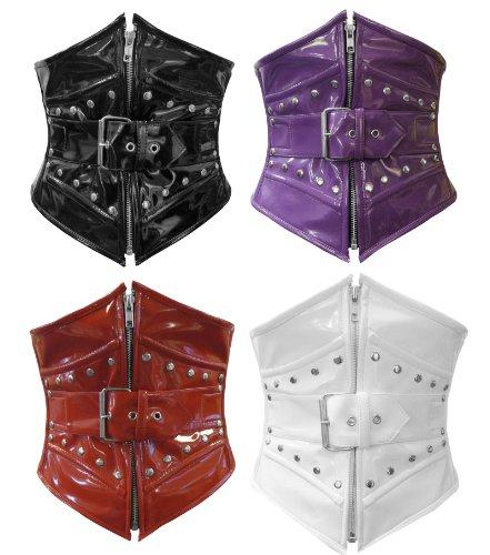 Negro Rojo Morado o blanco PVC acero deshuesada con cordones Hebilla Amplia trasera de la cintura Cincher corsé Waspie cinturón Morado