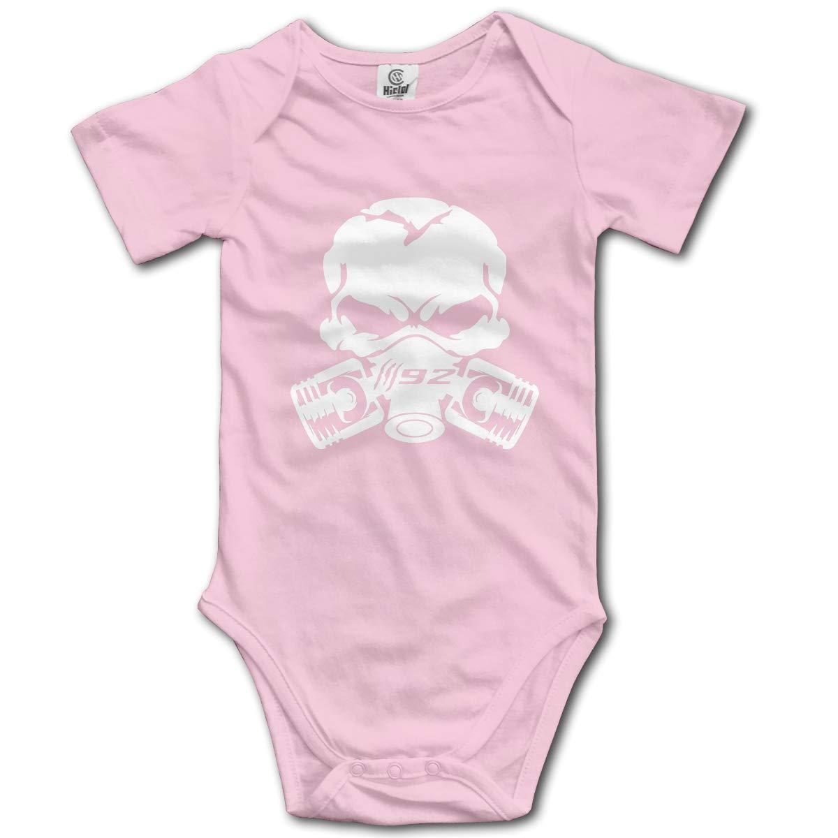 Claw Marks 392 Piston Gas Mask Skull Baby Romper 0-18 Months Newborn Baby Girls Boys Layette Rompers Black