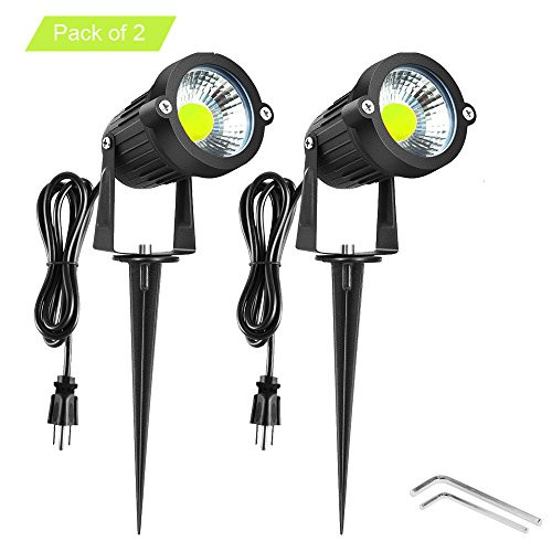 Onerbuy Bright Outdoor LED Landscape Lighting 5W COB Garden Wall Yard Path Lawn Light Lamp with Spiked Stand and Power Plug, Pack of 2 (Cool White) Outdoor Flag Lighting