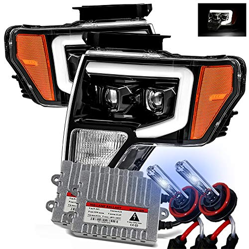 AlphaRex 8000K Xenon/Polished Black For 09-14 Ford F150 DRL LED Tube Dual Projector Headlights