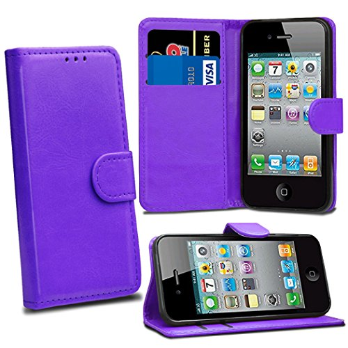 Premium Leather Flip Wallet Case Cover Pouch For iPhone 4 4S With Screen Protector ()