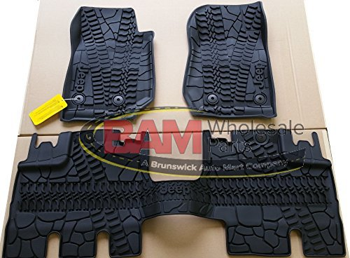 2016-2017 Jeep Wrangler 4 Door Unlimited Slush Mats Front and Rear Set of 3 OEM (Door 4 Piece Floor Mat)