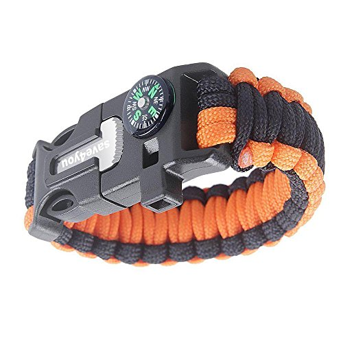 Save4you-Paracord-Bracelet-Embedded-Compass-Fire-Starter-Emergency-Knife-Whistle-W-16-Piece-Survival-Kit-Includes-Fishing-Gear-orangeblack