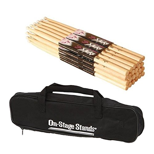 On Stage Maple Wood 5B (12 pair) + On-Stage DSB6500 Small Drum Stick Bag - Deluxe Drum Accessory Bundle ()