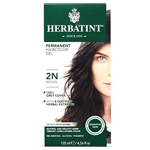 Herbatint 2N Permanent Herbal Brown Haircolor Gel Kit - 3 per - Gloss Hair Colouring