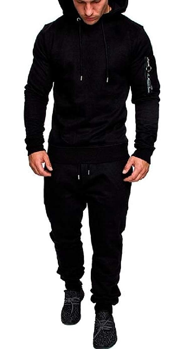 Black US Small BU2H Men Sport Sweatsuit Slim Fit Outdoor Hoodie 2 PCS Outfits Tracksuits