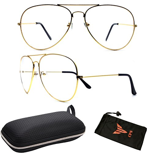 CPS Gold Aviator Clear Lens Glasses For Men Women Unisex Retro Eye Glasses + Hard Case