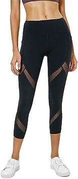 Amazon.com : Yoga Pants Female High Waist Stretch Mesh Tight ...
