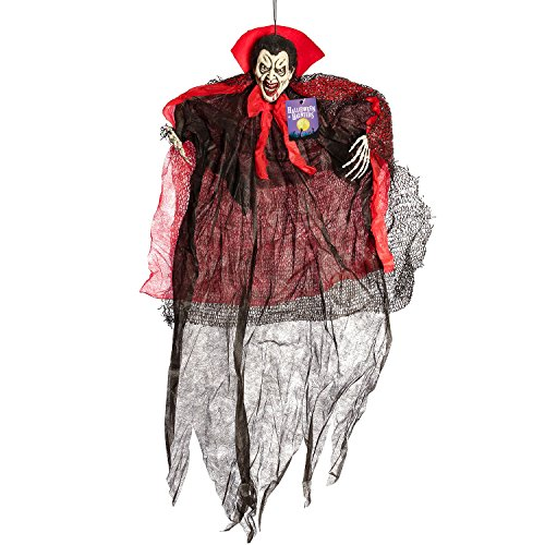 (Halloween Haunters 4 Foot Hanging Dracula Vampire with Skeleton Hands Prop Decoration - 1/3 Life-Size Scale Scary White Face with Black and Red Cape - Haunted House Graveyard Entryway)