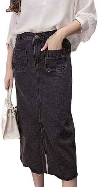 dahuo Falda de Jean elastizada con Cintura Alta y Botones clásicos ...