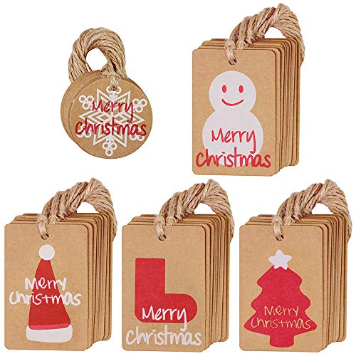 Supla 100 Pcs Bulk Assorted Kraft Paper Christmas Name Tags Gift Tags Favor Tags Place Cards Hang Tags Price Tags with Matching Jute String for Christmas Wedding Party Holiday Favor Gift Wrapping