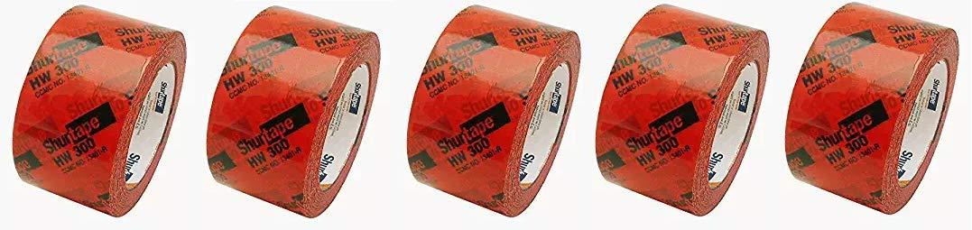 AGN 134338 Shurtape HW-300 Housewrap Sheathing Tape: 2-1/2'' x 60 yd, Red/Black (Fivе Расk)