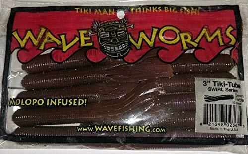 "IMVERA Tiki-Tube Swirl Series-Brown Purple (10ct) Wave Worms 3"""