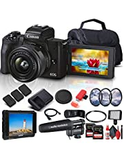 $1124 » Canon EOS M50 Mark II Mirrorless Digital Camera with 15-45mm Lens (Black) (4728C006) + 4K Monitor + Pro Mic + 2 x 64GB Extreme Pro Card + 2 x LPE12 Battery + Case + LED Video Light + More (Renewed)
