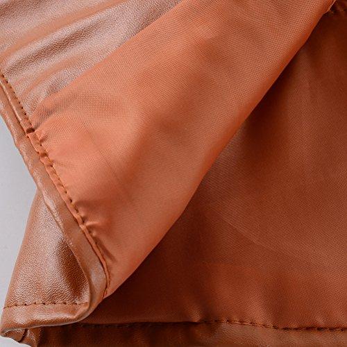 Calda Cerniera Pu Inverno Corto Giacche Manica Casual Giacca Lunga Giubbotto Pelle Pelle In Moto Donna Slim Gialli Risvolto Vintage Fit Autunno xqgC1v6