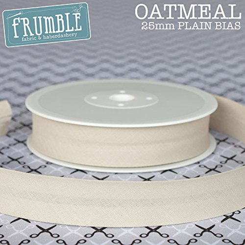 25mm Bias Binding Oatmeal 5m Roll High Quality Open Fold Tape Trim Frumble Fabric