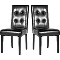 Merax Black PU Dining Chair Leisure Chair with Solid Wood Legs , Set of 2