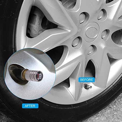 TK-KLZ 4Pcs Chrome Car Tire Valve Stem Caps for Audi S Line S3 S4 S5 S6 S7 S8 A1 A3 RS3 A4 A5 A6 A7 RS7 A8 Q3 Q5 Q7 R8 TT Car Styling Decoration Accessories