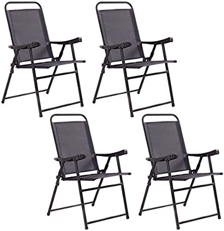 : COSTWAY Set of 4 Folding Sling Chairs Patio