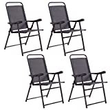 Costway Set Of 4 Folding Sling Chairs Patio Furniture Camping Pool Beach With Armrest