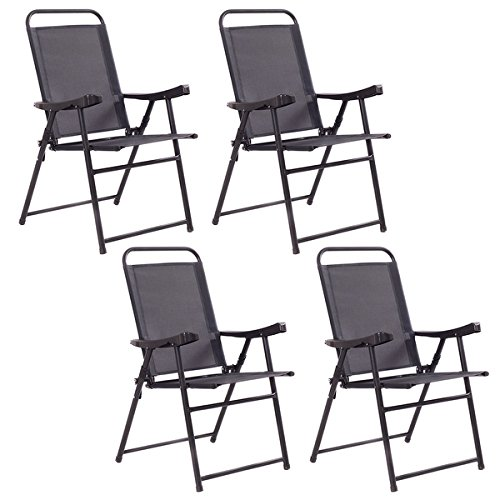 Costway Set Of 4 Folding Sling Chairs Patio Furniture Camping Pool Beach With Armrest by COSTWAY
