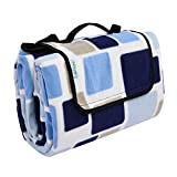 OUTCAMER Large Picnic Blanket, Waterproof Outdoor Portable Folding Picnic Mat with Tote for Family Camping(Blue-blue checker, 79'' × 79'')