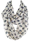 Elephant Infinity Scarf, fashion scarf, multi color, summer scarf, (White)