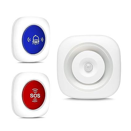 Timbre Inalámbrico Timbre Radio + Detector Infrarrojo Luz Nocturna con Sensor de Movimiento + Enfermera Llamada
