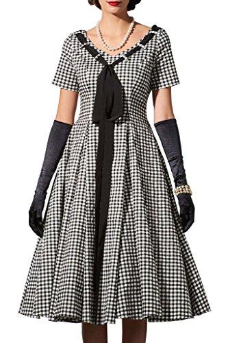 Topdress Women's 50s Vintage Hepburn Costume Party Swing Dresses Plaid480 L - L Costume Party