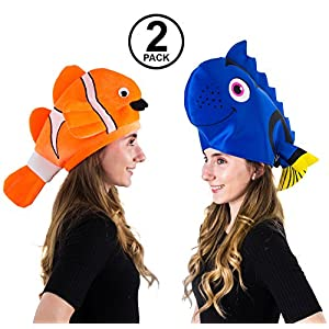 Tigerdoe Fish Hats – Clown Fish Hat – Tropical Fish Hat – Costume Hats – Under The Sea Party Hats (2 Pack) – Shark Hat…