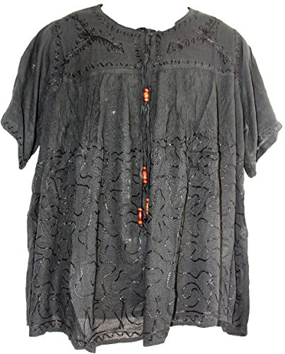 Gauze Embroidered Top Peasant - Highwaypay Missy, Bohemian Gypsy Hippie Peasant Embroidered Short Sleeve Gauze Cotton TOP/Blouse 2693 Grey Black