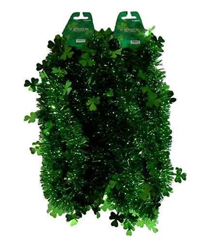 Shamrock Planter (St. Patrick's Green Shamrock Tinsel Garland - 9 Ft (Pack of 2))