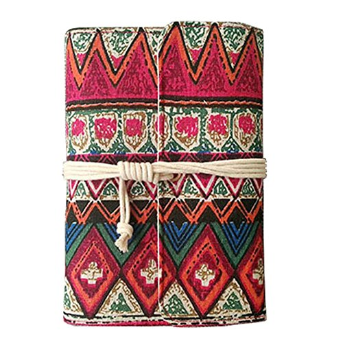 Journal Fabric (Little-Feet Handmade Bohemian Blank Notebook 90 Sheets Canvas Cover Bound Notepad Portable Refillable Traveller Journal 7.09