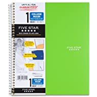"Five Star Spiral Notebook, 1 Subject, College Ruled Paper, 100 Sheets, 11"" x 8-1/2"" Sheet Size, Lime (72140)"