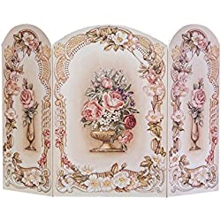 The Stupell Home Decor Collection 3 Panel Decorative Fireplace Screen, Victorian Floral, 43 by 31 by 0.5-Inch