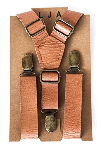 London Jae Apparel Kids Suspenders (Vintage Tan w/Brass clips, Large (6yr-11yr))