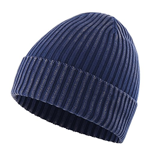 (Connectyle Girls Womens Daily Cotton Rib Knit Cuff Beanie Hat Classic Plain Winter Watch Hat Navy )
