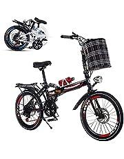 Opvouwbare fiets voor volwassenen, 26-inch draagbare fiets met variabele snelheid Schokabsorptiedemping Voor en achter Dubbele schijfremmen Versterkte frame Antislipbanden