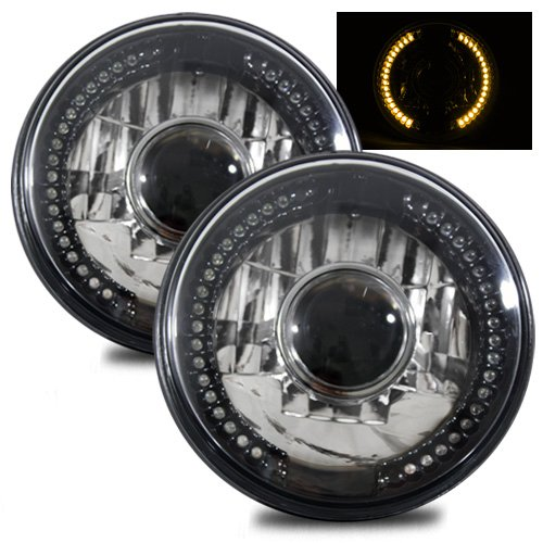 "1969, 1970, 1971, 1972, 1973, 1974 Ford F-100 F-250 F-350 Pickup 7"" H6024 H6014 H6015 Round Semi-Sealed Beam Projector Headlights Black Crystal Amber LED Halo"