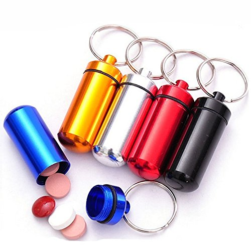 MK Small metal container aluminum pill box holder keychain medicine packing bottle