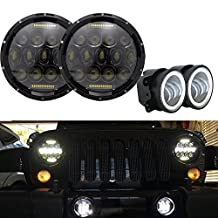 """TURBO SII Pair 7 Inch Round Led Headlights Black Projector Lens With DRL Hi/lo Beam + 2pcs 4"""" Inch Led Fog Lamps White Halo Ring DRL For Jeep Wrangler Dodge Chrysler Front Bumper Lights"""