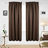 Deconovo Rod Pocket Texuture Embossed Curtains Marble Pattern Blackout Curtains for Bedroom 42×84 Inch Chocolate 2 Curtain Panels Review