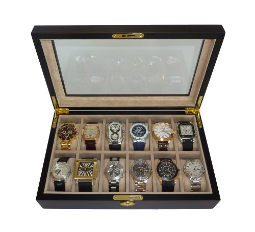 12 Piece Ebony Wood Watch Display Case and Storage Organizer Box (Watch Display Case 12 compare prices)